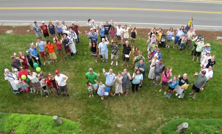 "Residents and friends form ""250"" on Madbury Day."