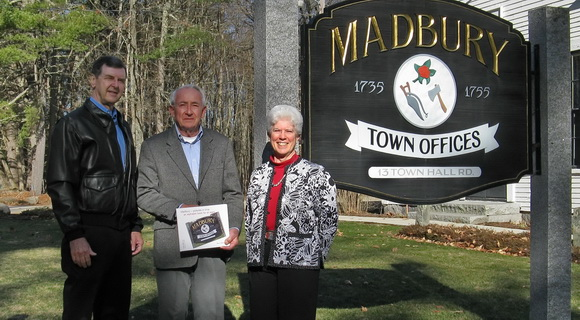 Author of a book on Madbury, Nancy Bergeron, with the Selectmen.