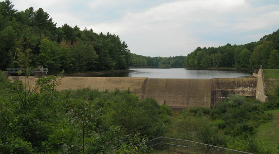 Bellamy Reservoir dam at no overflow.  September 2016.